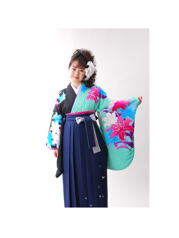 【高級卒業式袴レンタル】502 ペパーミントグリーンと黒 百合柄 サイズ 百合