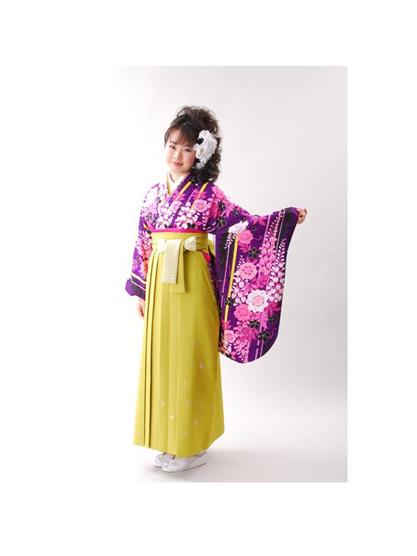 【高級卒業式袴レンタル】506 紫地に縦縞 ピンクの藤柄 サイズ 縦縞・藤