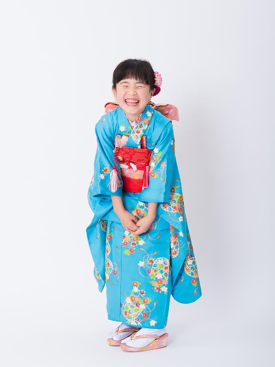 水色の正絹高級7歳女の子きものレンタル