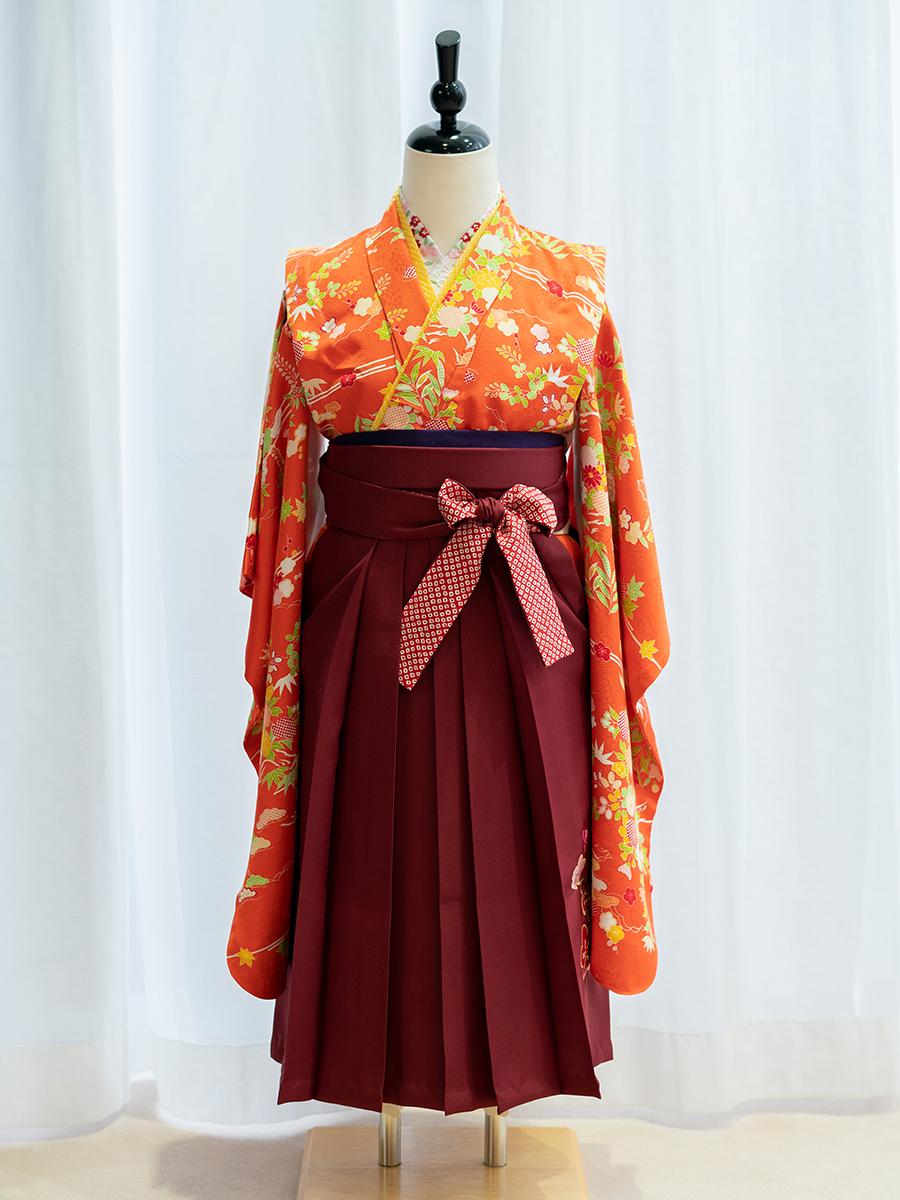 【卒園式向けの高級正絹着物と袴レンタル】品番:7-107-hakama