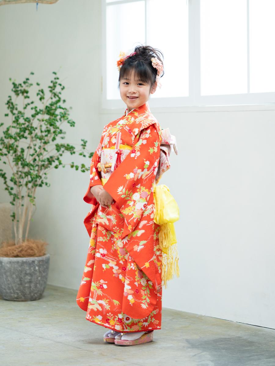 オレンジ色の正絹高級7歳女の子きものレンタル