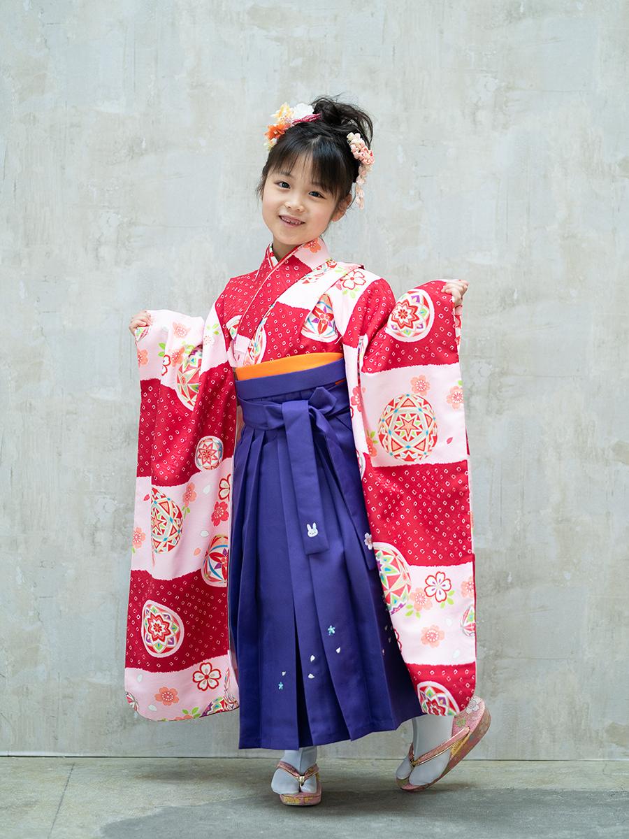 【卒園式向けの着物と袴レンタル】赤とピンクの可愛い柄・品番:7-201