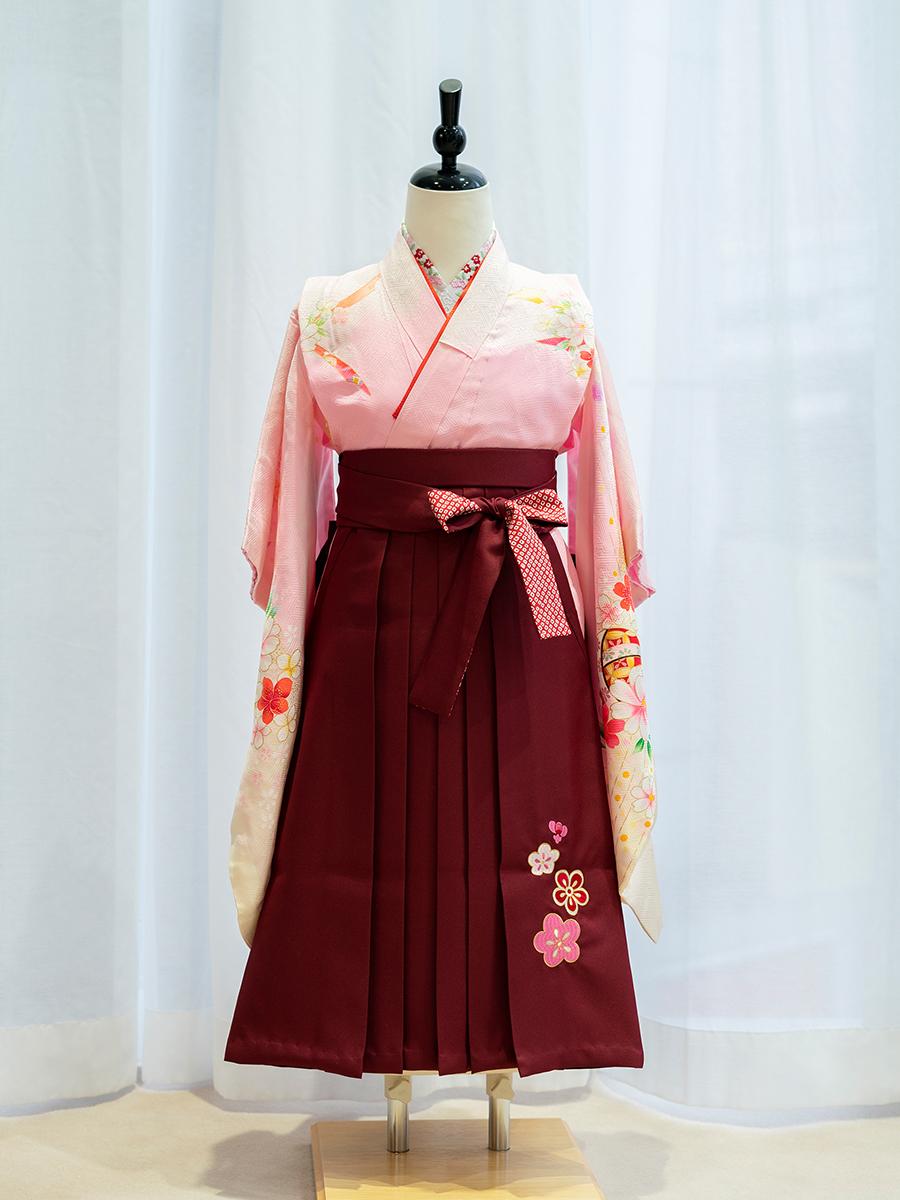 【卒園式向けの着物と袴レンタル】ピンク色の可愛らしいきもの。品番:7-202