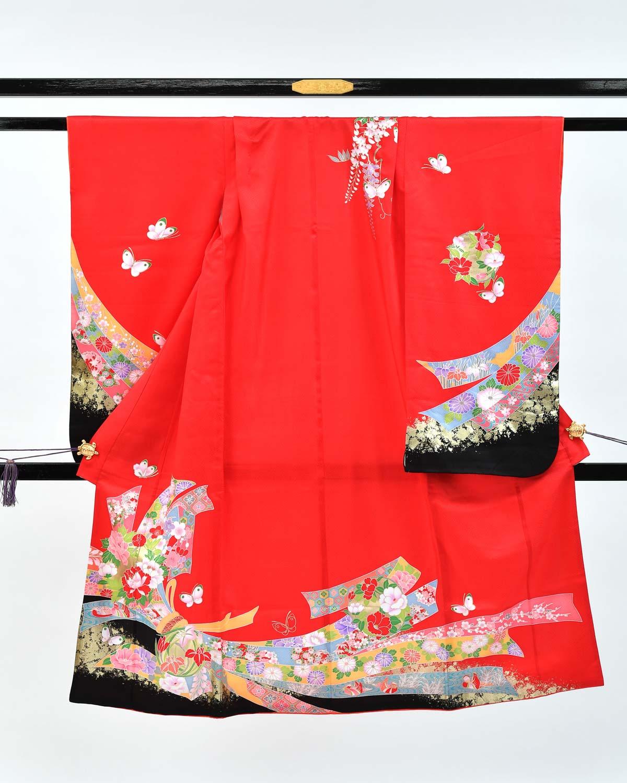 【七五三の7歳着物レンタル】赤に束ね熨斗と花柄 品番:7-210_kimono