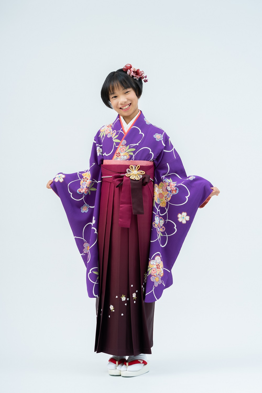 【小学生卒業式袴レンタル】紫色 桜柄 正絹(シルク) 二尺袖 (品番:S-1202)