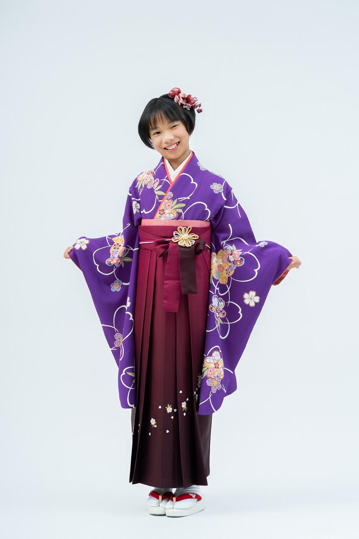 【小学生卒業式袴レンタル】紫色 桜柄 正絹(シルク) 二尺袖 (品番:S-1202)(2-70)