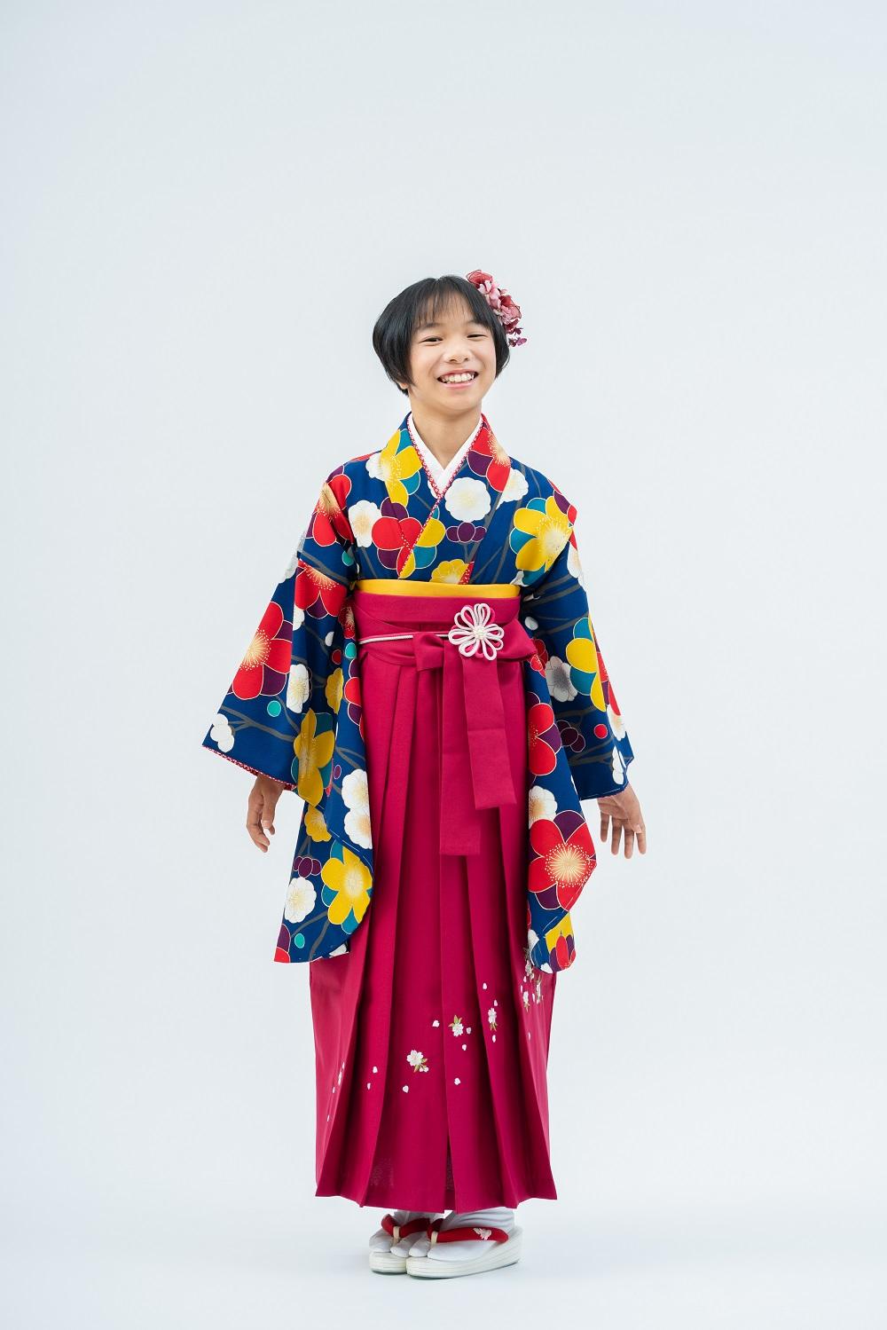 【小学生卒業式袴レンタル】紺色 花柄 ポリエステル 二尺袖 (品番:S-1302)