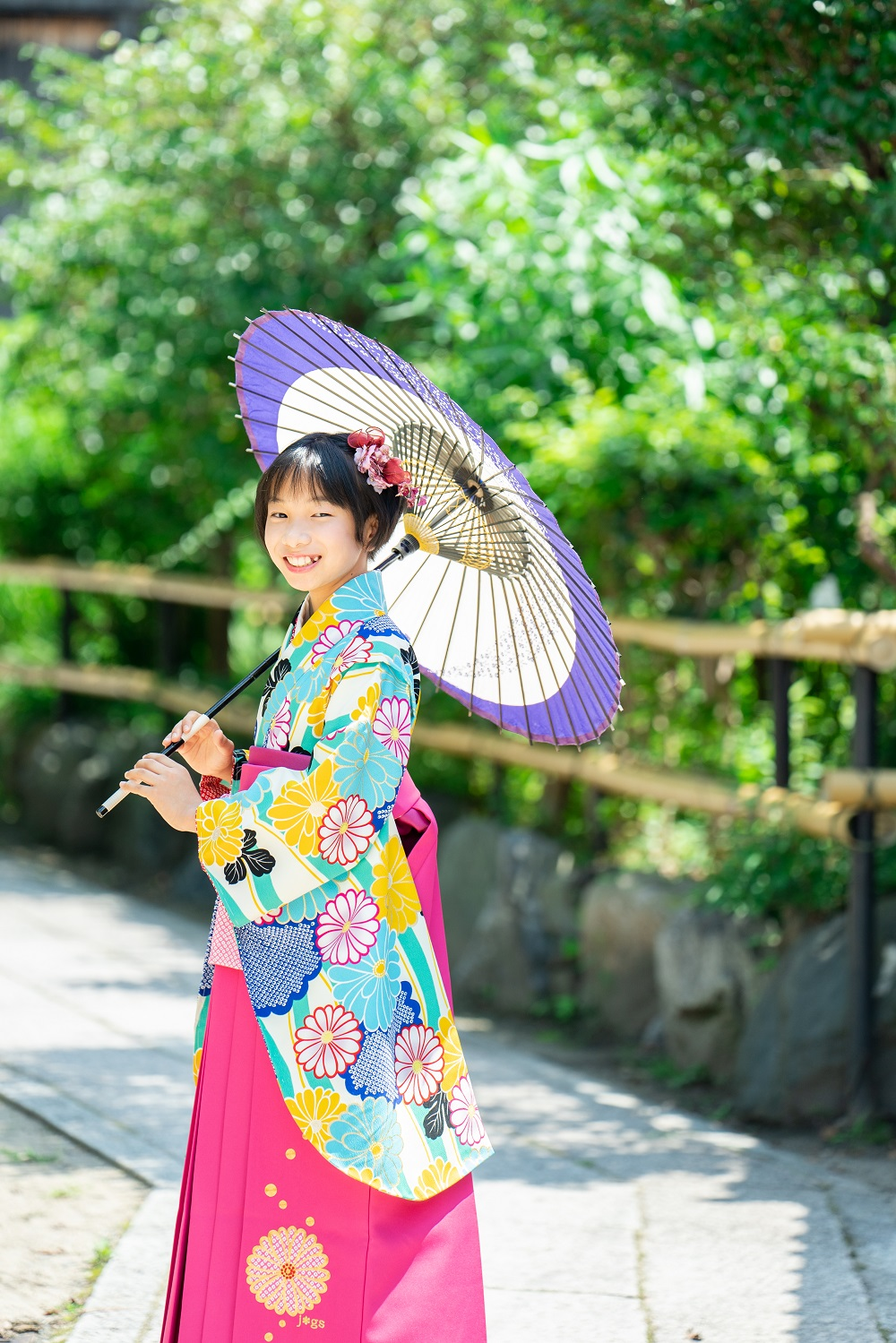 【小学生卒業式袴レンタル】水色 花柄 ポリエステル 二尺袖 (品番:S-1305)