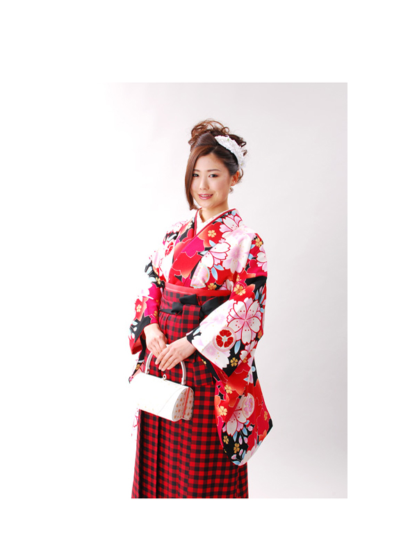 【高級卒業式袴レンタル】a-504 黒地 桜づくし サイズ 桜