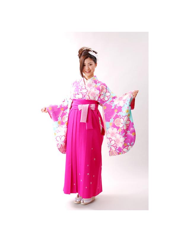 【高級卒業式袴レンタル】a-506 水色 桜づくし サイズ 桜