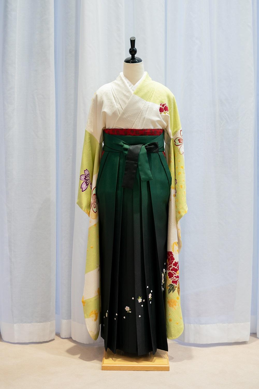 【高級卒業式袴レンタル】f55 黄緑 サイズ 牡丹
