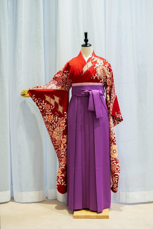 【高級卒業式袴レンタル】f58 赤 サイズ 洋花