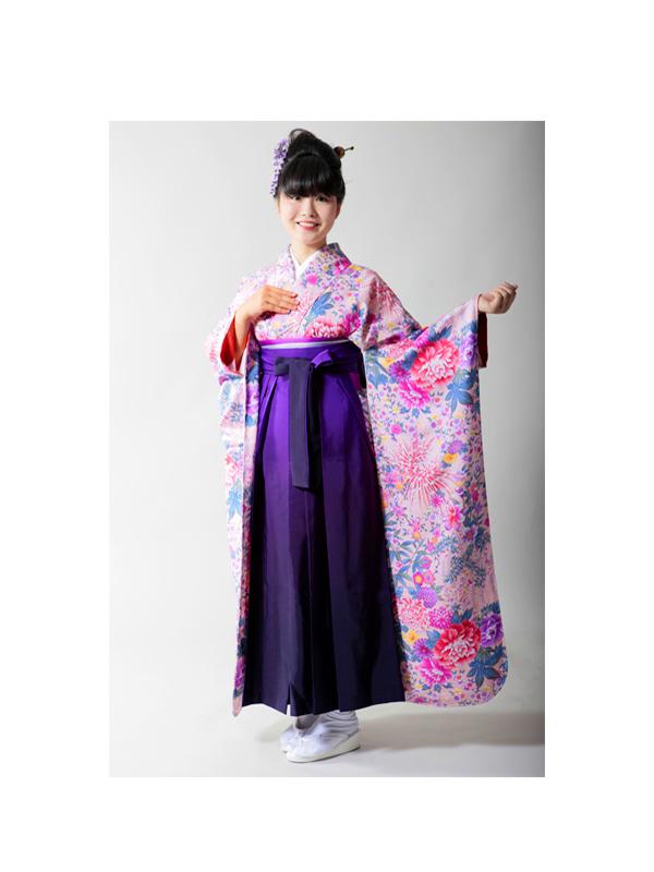 【高級卒業式袴レンタル】FU-2 ピンク 花柄 サイズ 花柄