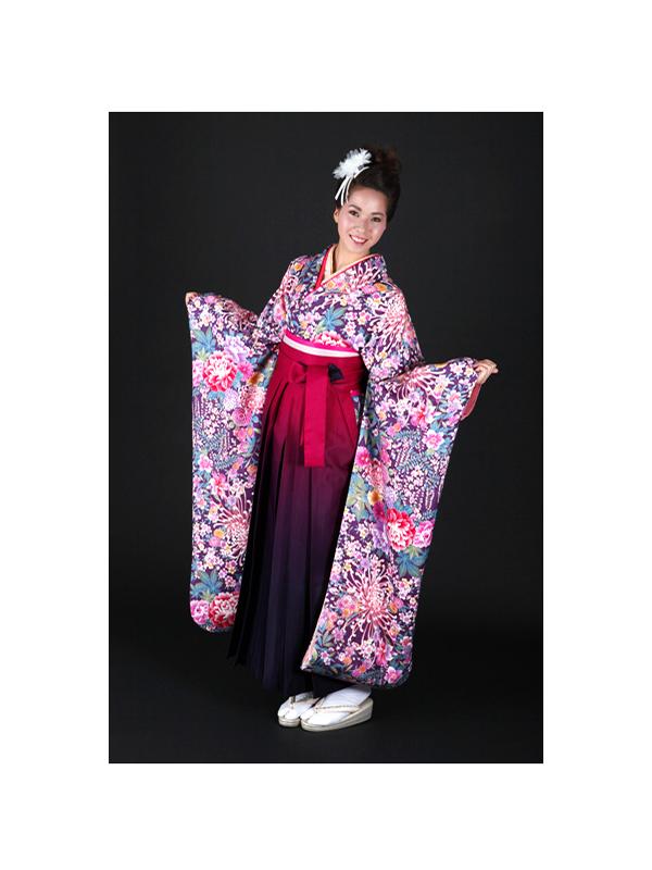 【高級卒業式袴レンタル】FU-4 紫地 花柄 サイズ 花柄