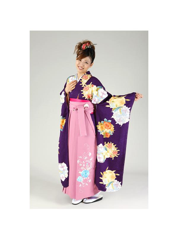 【高級卒業式袴レンタル】FU-5 紫地 花柄 サイズ 花の丸文