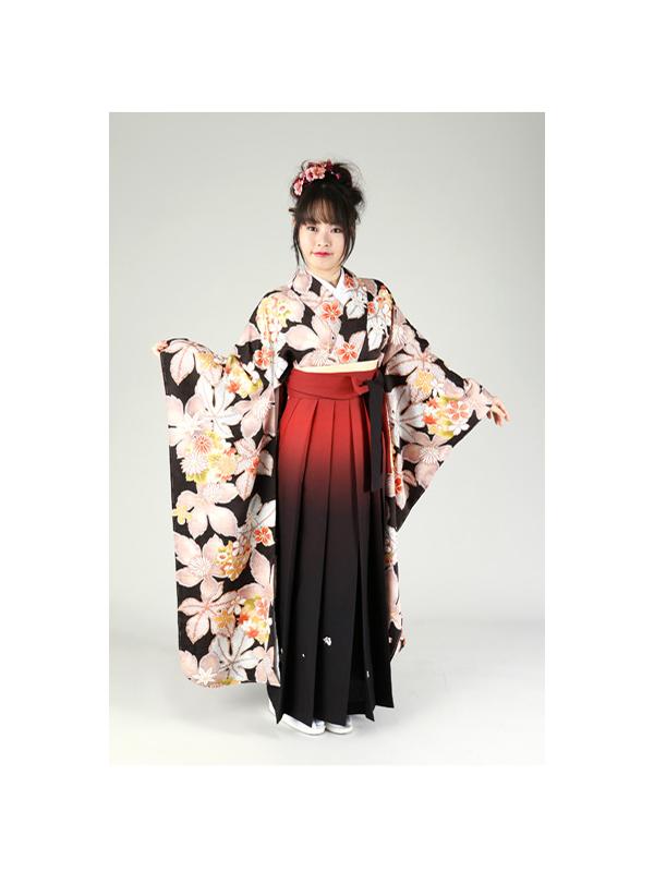 【高級卒業式袴レンタル】FU-6 黒地 葉と花柄 サイズ 葉・花柄