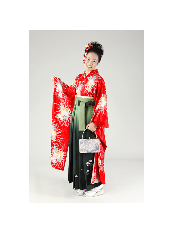 【高級卒業式袴レンタル】FU-8 真紅 乱菊 サイズ 乱菊