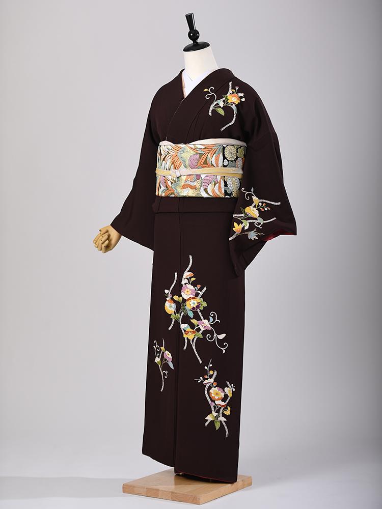 【高級訪問着付下げレンタル】菱健謹製・こげ茶色・Mサイズ 品番:h-103