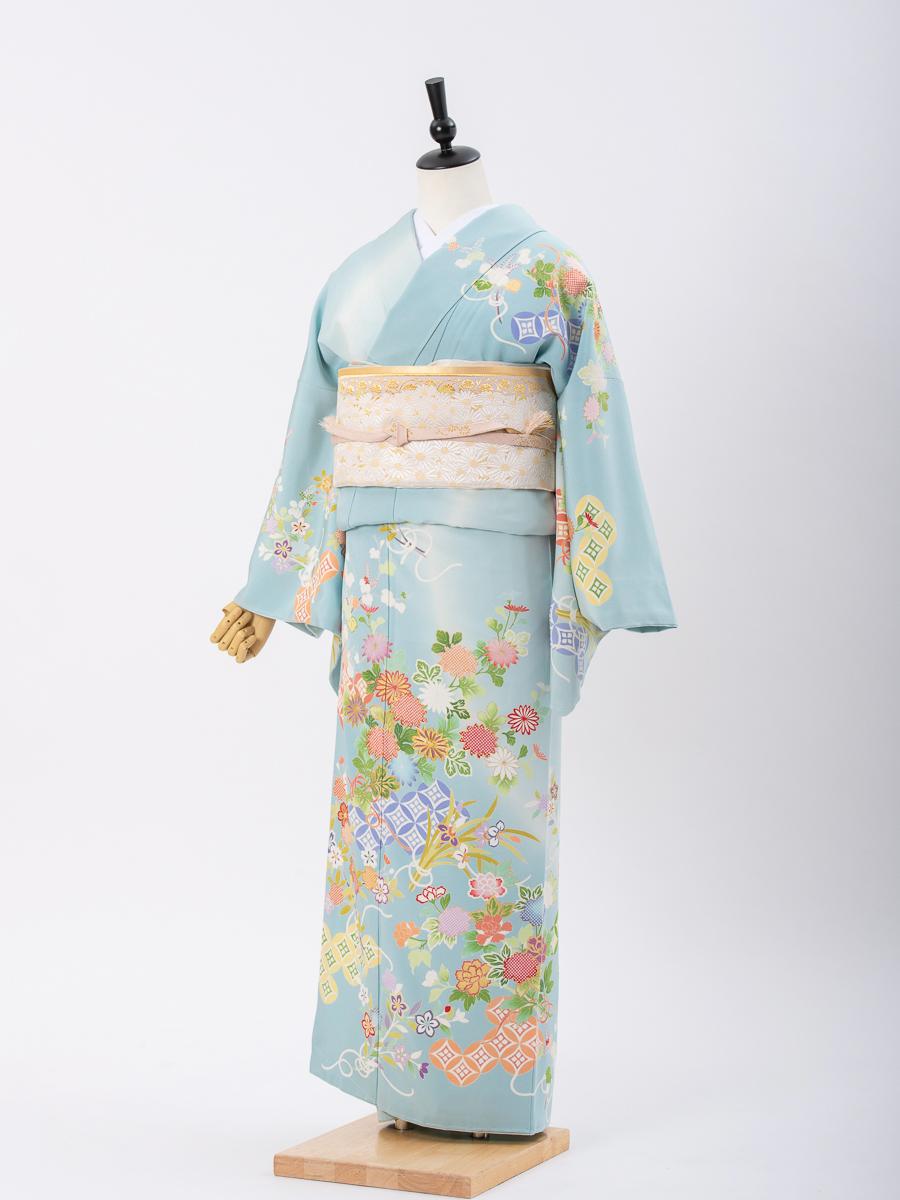 【結婚式・卒業式向けの訪問着レンタル】水色地の京友禅・サイズML・品番:h−453