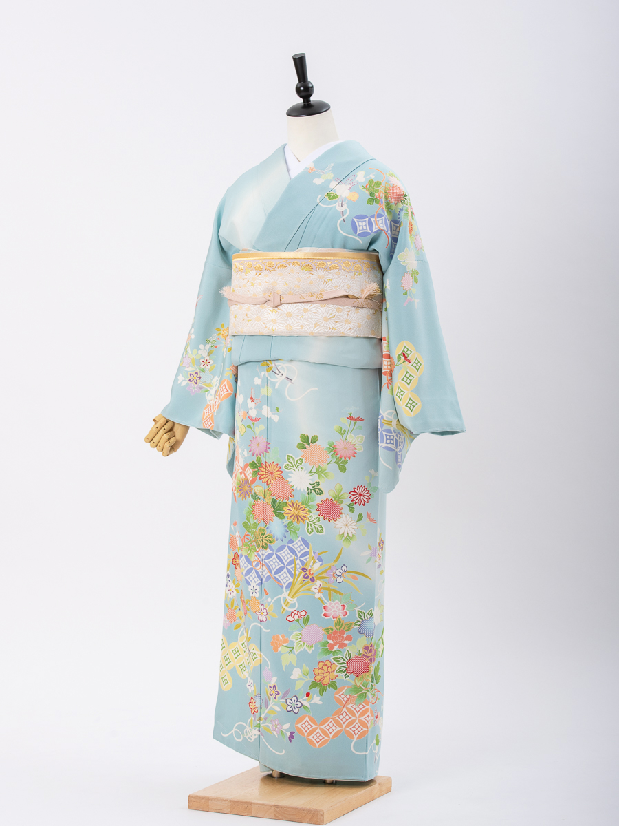 【結婚式・卒業式向けの訪問着レンタル】水色地の京友禅・サイズML・品番:h-453