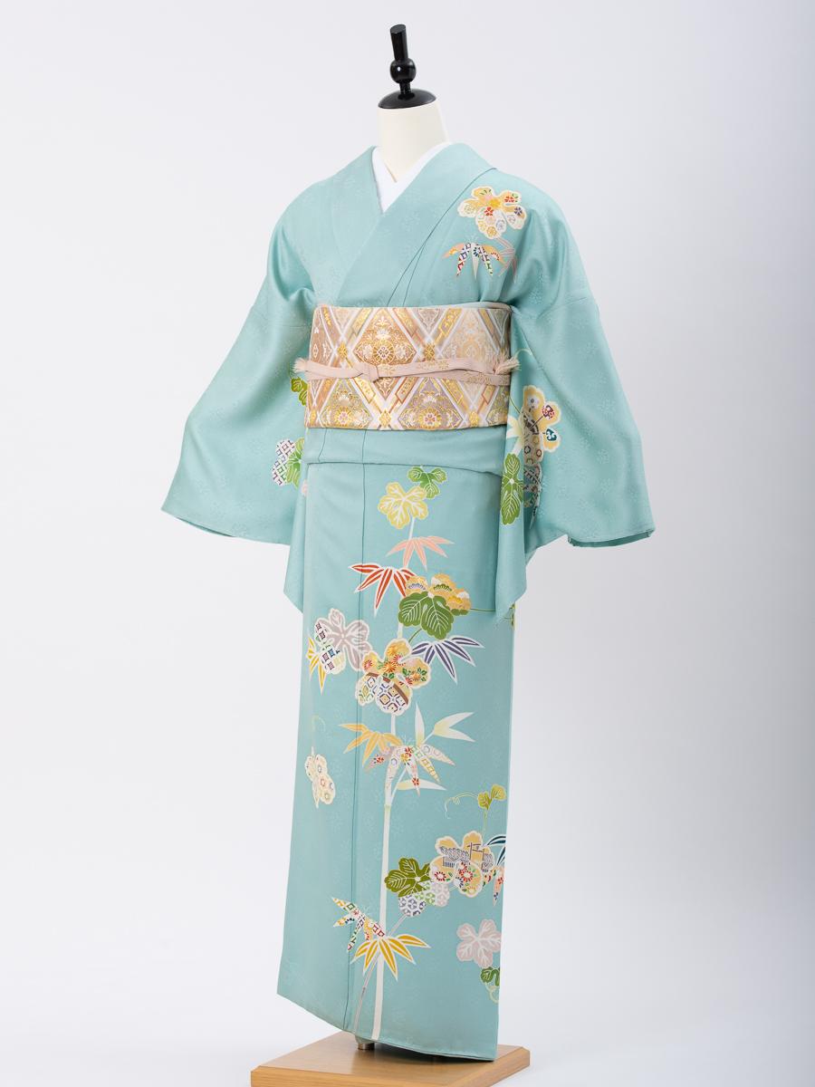 【背の高い方向け高級訪問着レンタル】笹柄の京友禅・サイズLL・品番:h−454