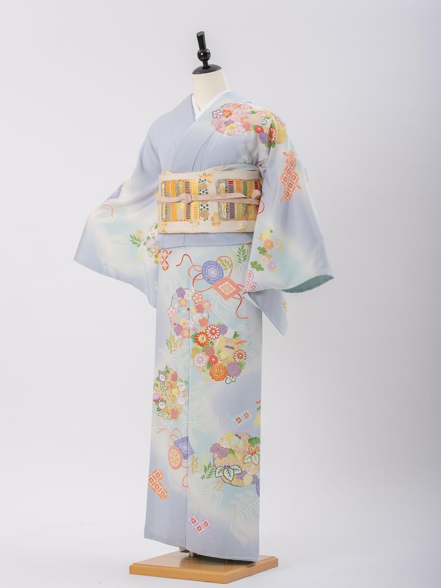 【京友禅の高級訪問着レンタル】花と波の柄・水色地・サイズL・品番:h−455