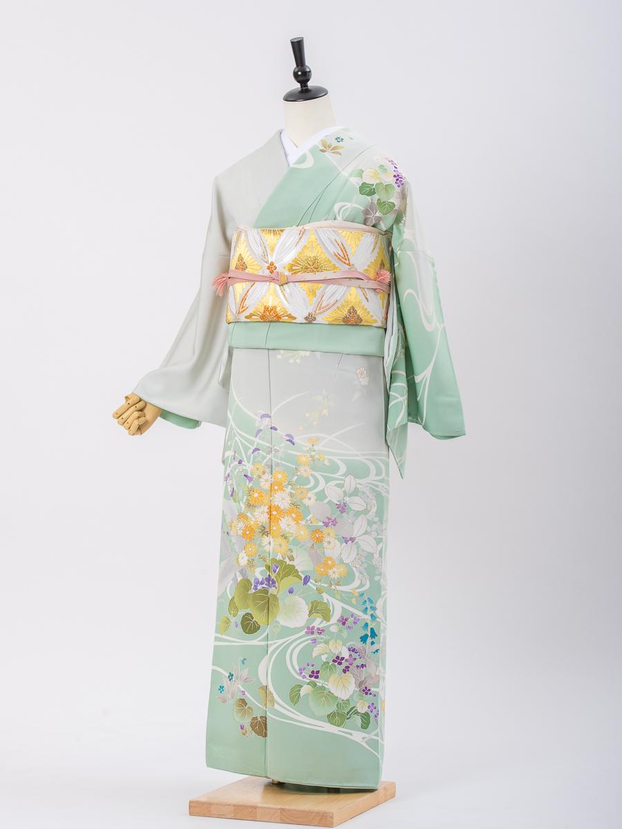 【草花柄の最高級京友禅訪問着レンタル】グリーンとグレー・サイズL・品番:h−456