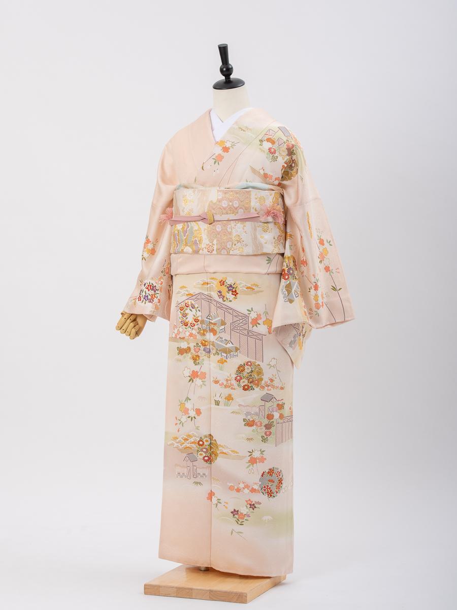 【花柄の大きい高級訪問着レンタル】ピンク色・MOOサイズ・品番:HL-13