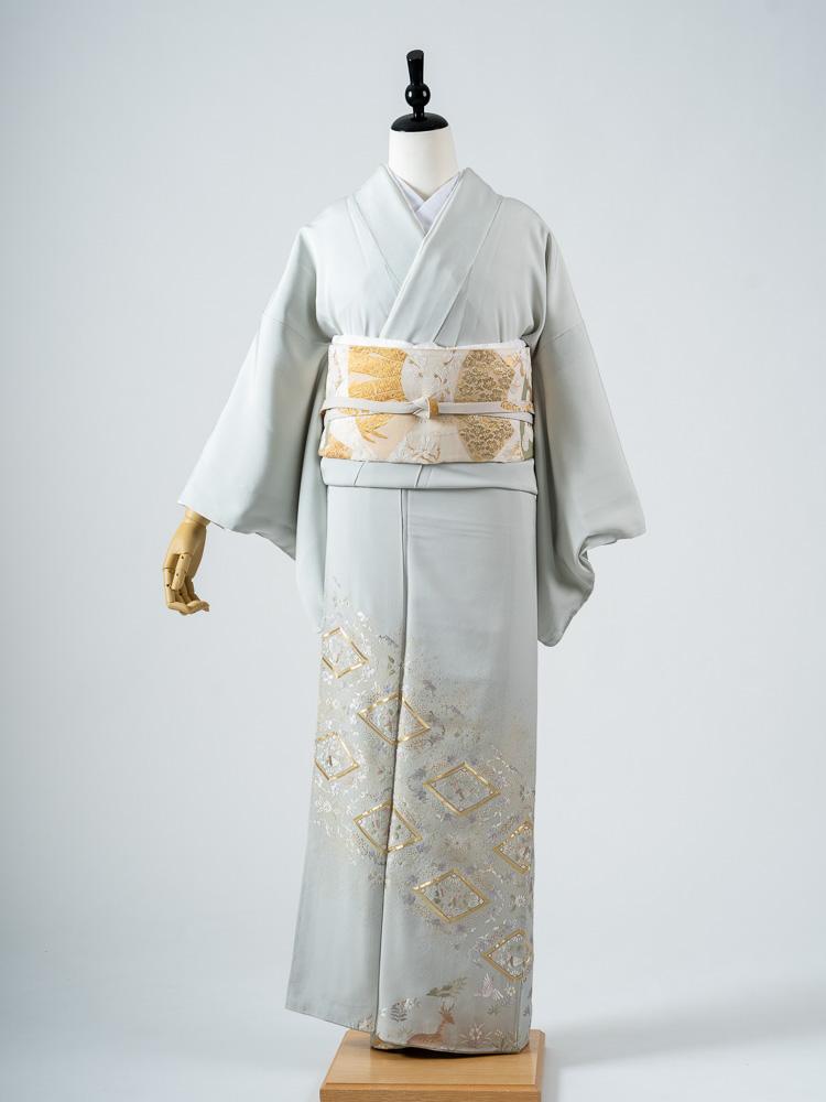 【高級色留袖レンタル】I-638 山口美術織物謹製 刺繍 水色 MSサイズ