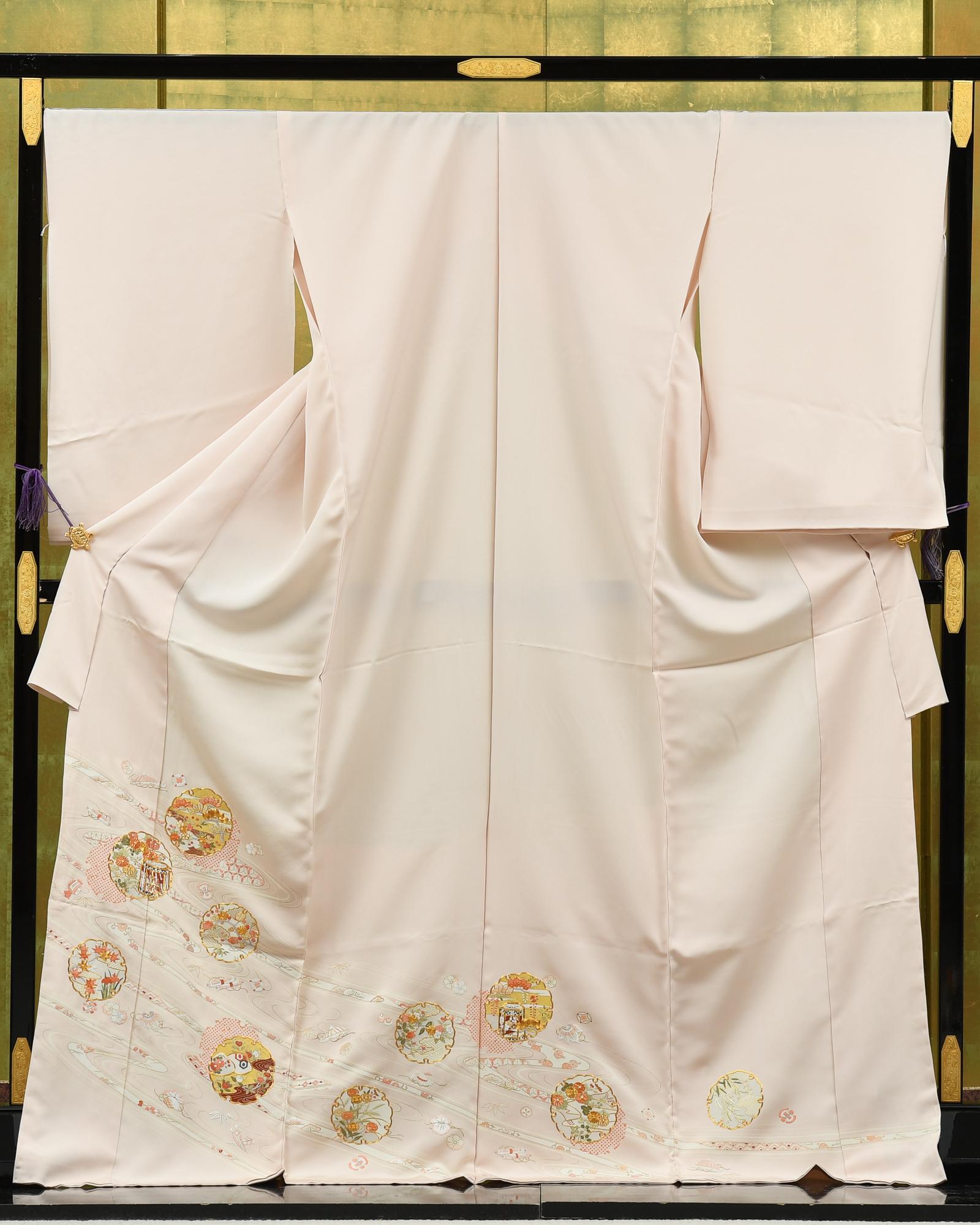 【最高級色留袖オーダーレンタル】オーダーレンタル色留袖・菱健謹製・古典柄・日本刺繍「ピンク系・雪輪・古典柄」品番:i_order202101