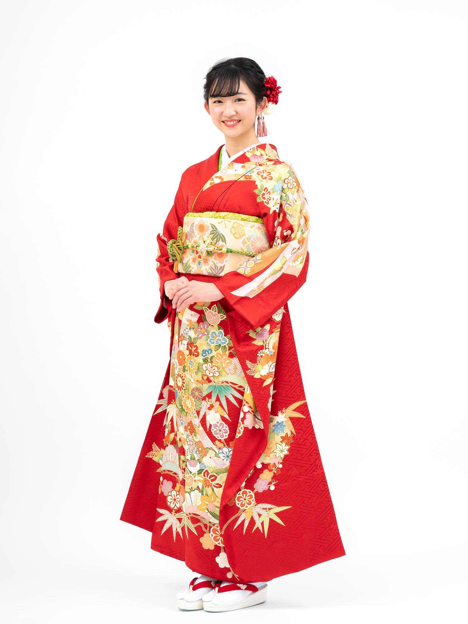 【吉澤織物の高級振袖レンタル(赤色)】品番K-22・松竹梅・熨斗柄 MLサイズ
