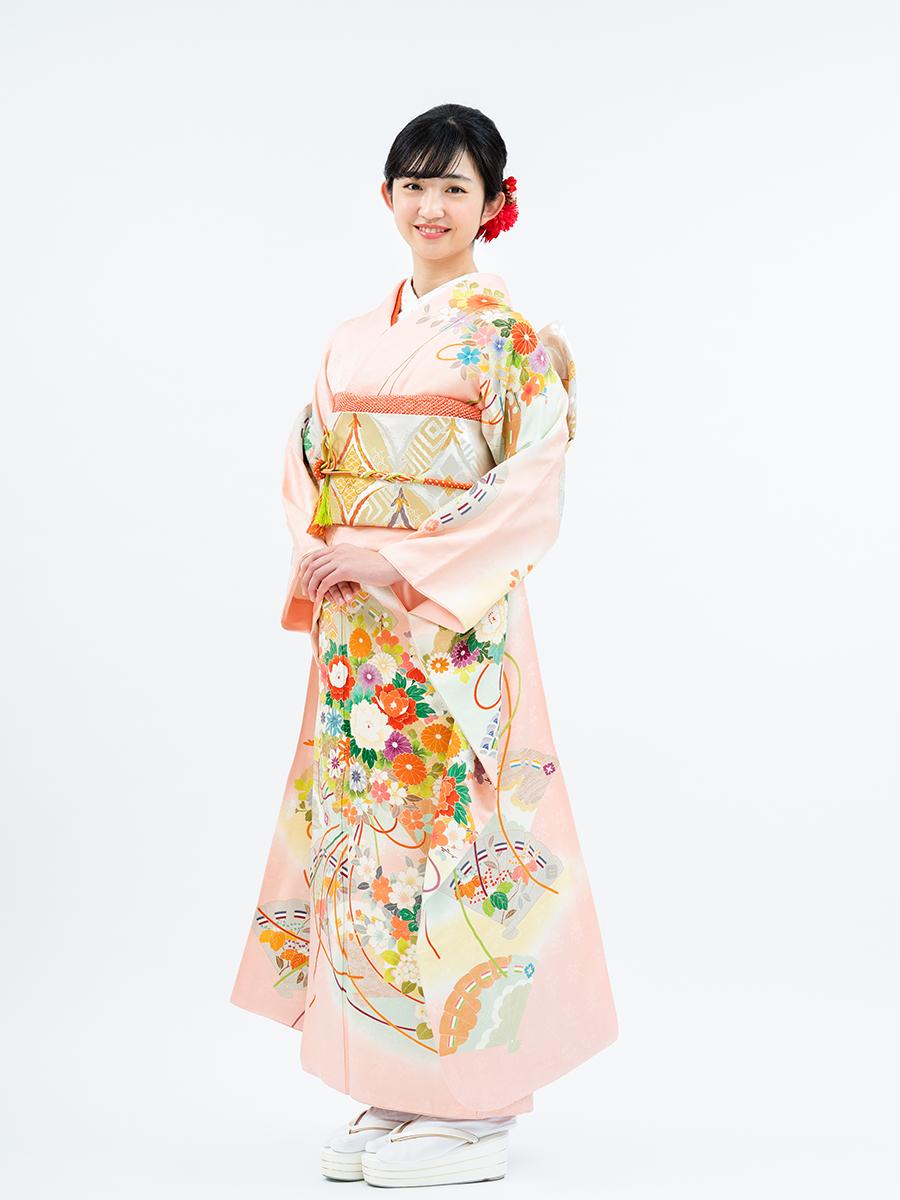【高級振袖レンタルフルセット】古典柄の薬玉と檜扇 サイズML ピンク色 品番:K-29