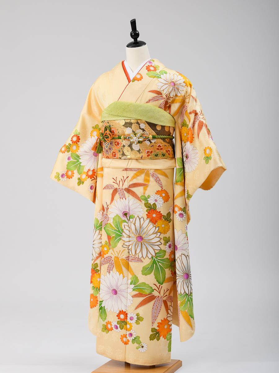 【高級な京友禅振袖レンタル】クリーム系黄色・大胆な花柄・M Lサイズ・品番k-58