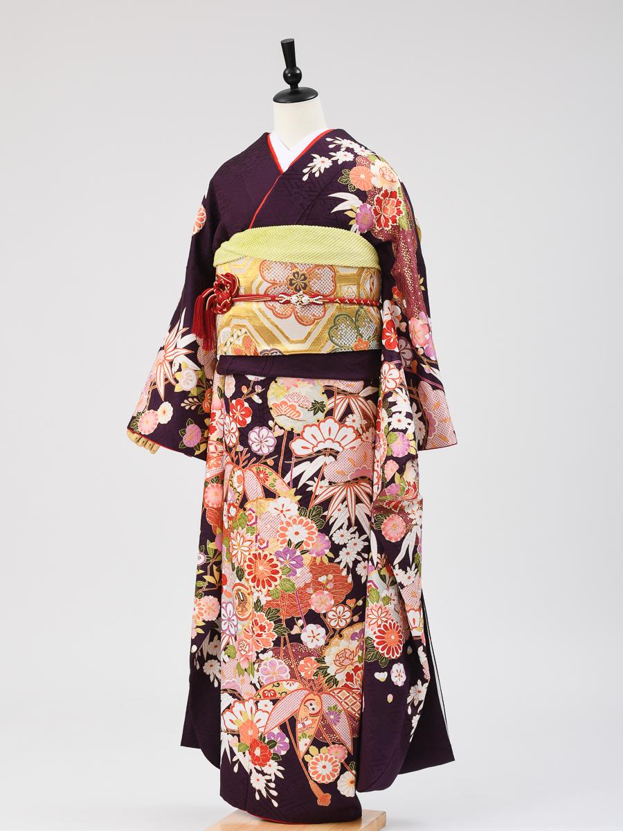 【高級振袖レンタルフルセット】LLサイズ・紫色に花柄・品番K-62