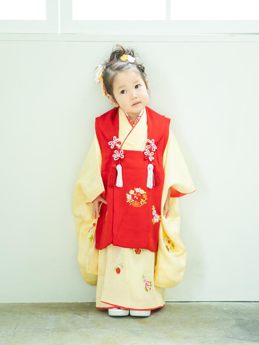 正絹の3歳女の子着物&被布セットレンタル(黄色と赤色)