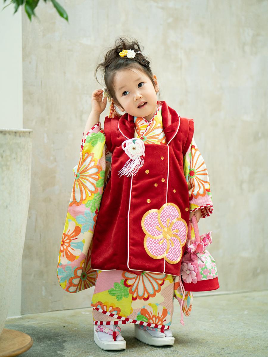 【七五三の着物レンタル】 三才の女の子用被布セット ブランド品 KD-38番