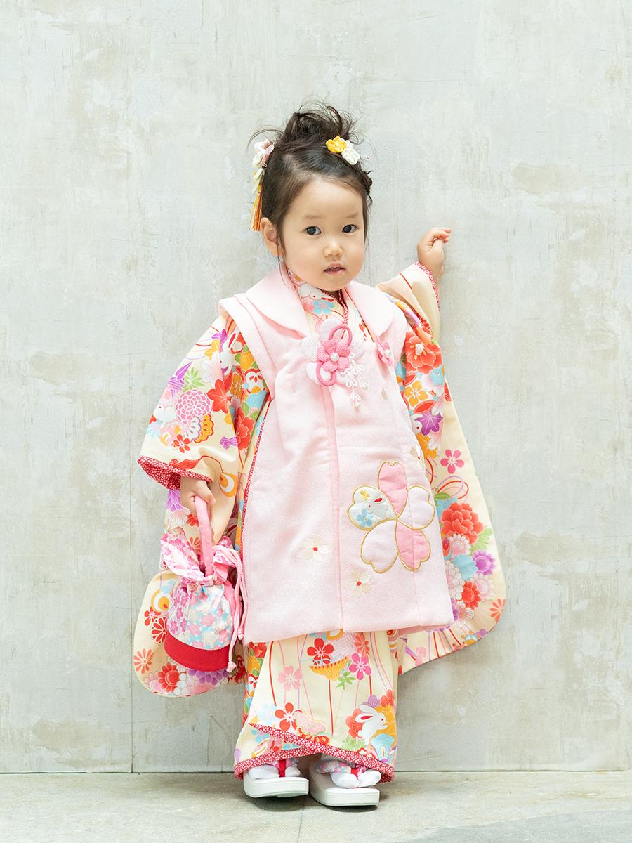 【七五三の着物レンタル】 三才の女の子用被布セット 乙葉ブランドのピンク KD-39番