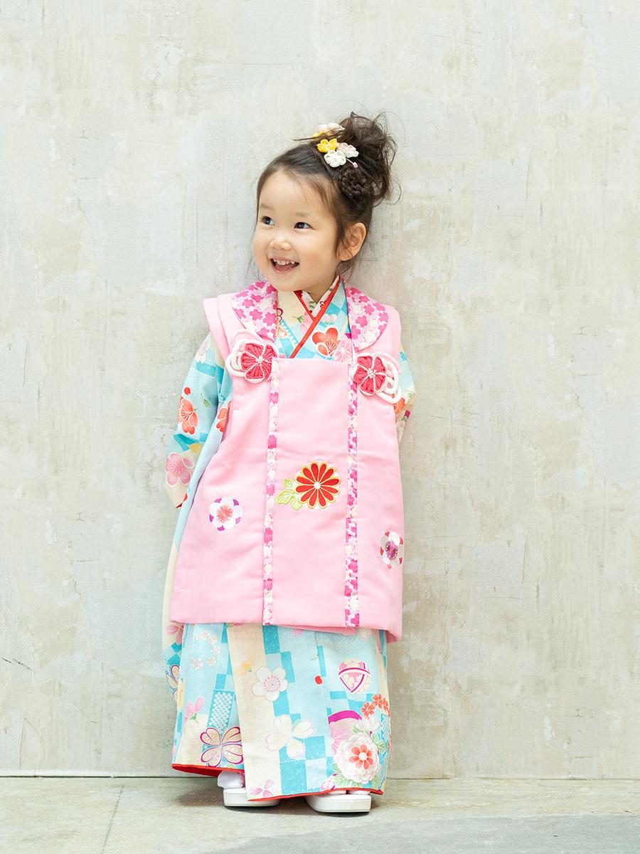 【七五三の着物レンタル】 三才の女の子用被布セット 「式部浪漫の被布」 KD-40番