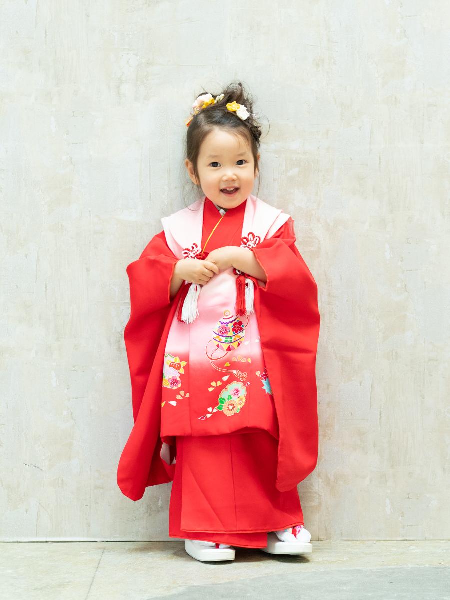 【七五三の着物レンタル】 3歳の女の子用被布セット 赤色 KD-41番