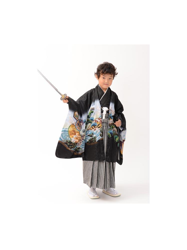 五歳の男の子着物レンタル。黒地