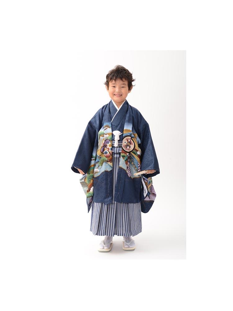 【高級七五三レンタル】KD-53 五才の男の子用袴セット 青 鷹 サイズ 鷹
