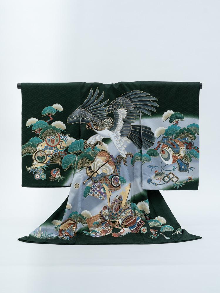 【高級お宮参りレンタル】MD-5 男の子用産着 深い緑 鷹 兜