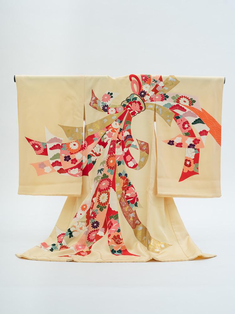 【高級お宮参りレンタル】MF-4 女の子用産着 黄色 熨斗
