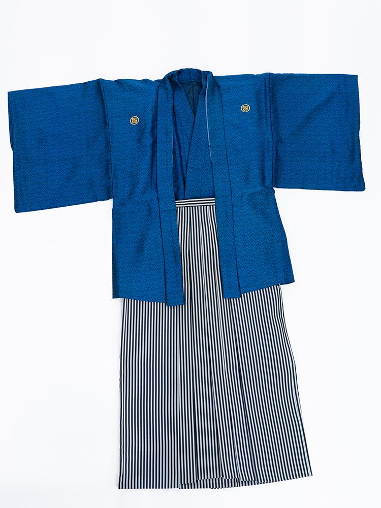 【男性衣装の青色の紋付袴レンタル】M/L/LLサイズ・男の第一礼装、結婚式の新郎や成人式や卒業式用 品番:mon-10