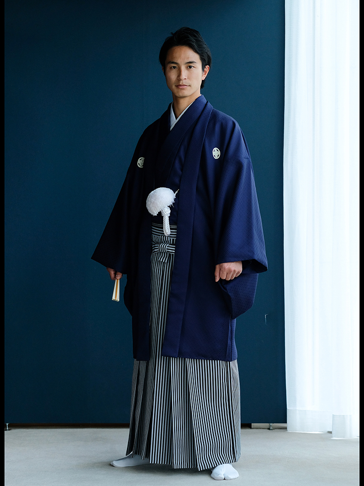 【男性衣装の青・紺色の紋付袴レンタル】フルセットレンタル・LLサイズ・男の第一礼装、結婚式の新郎や成人式や卒業式用 品番:mon-5