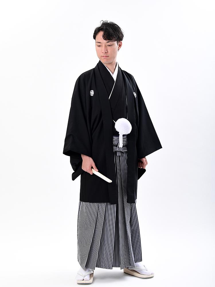 【男性衣装の黒紋付袴レンタル】montuki1 フルセットレンタル・男の第一礼装、結婚式の新郎、父親にお薦めの和装レンタル。