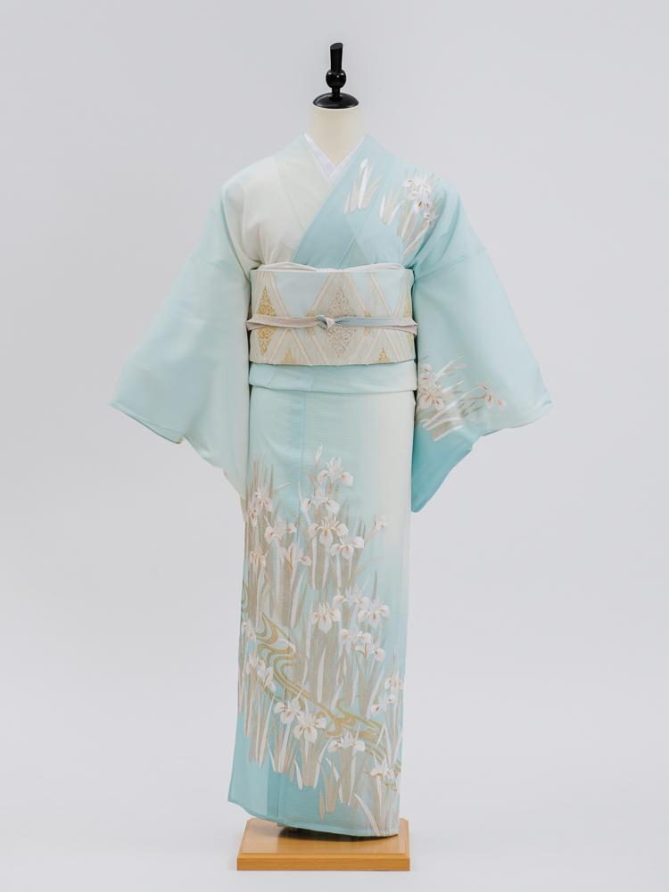 【盛夏・絽・高級訪問着レンタル】n-34 盛夏 水色 白 Lサイズ 菖蒲 総刺繍