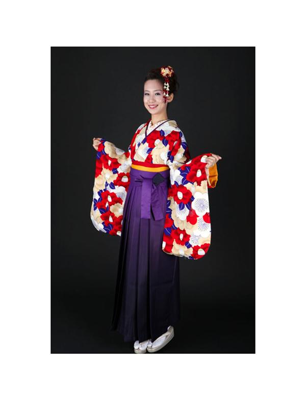 【高級卒業式袴レンタル】okajyu-1 ベージュ地に赤い椿と青の葉 サイズ 椿・梅