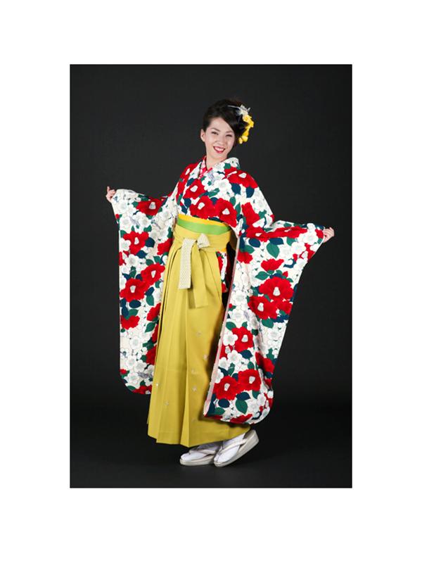 【高級卒業式袴レンタル】okajyu-2 白地に赤い椿と緑の葉 サイズ 椿・梅