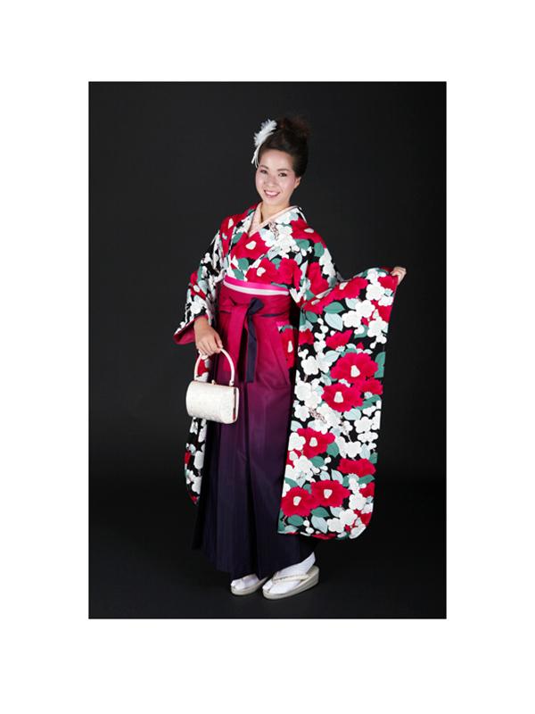 【高級卒業式袴レンタル】okajyu-3 黒地に赤椿と緑の葉 サイズ 椿・梅